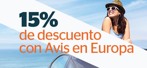 15% de descuento con Avis en Europa